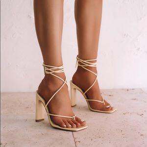 Billini Chalice Vanilla Square Toe Sandal heels